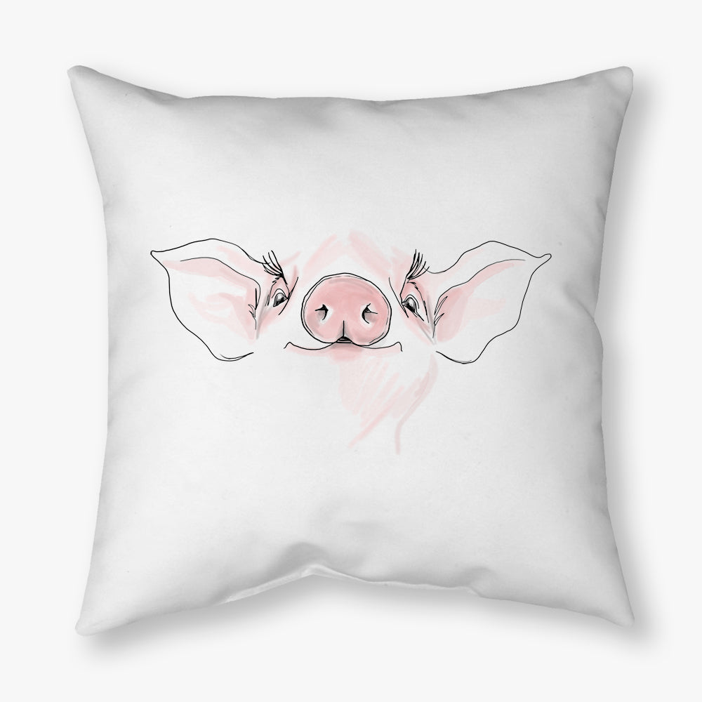 WATERCOLOR FARM PIG DECORATIVE THROW PILLOW
