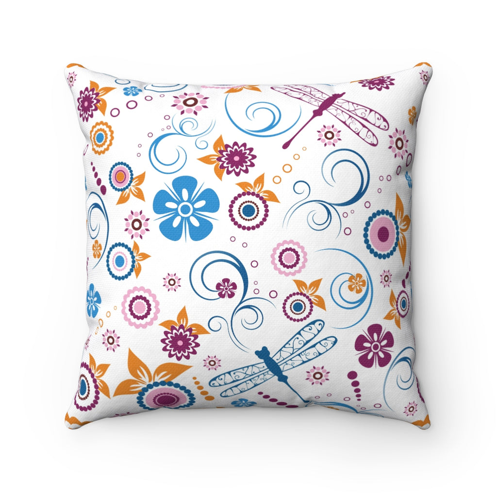 FLORAL DRAGONFLY DECORATIVE THROW PILLOW