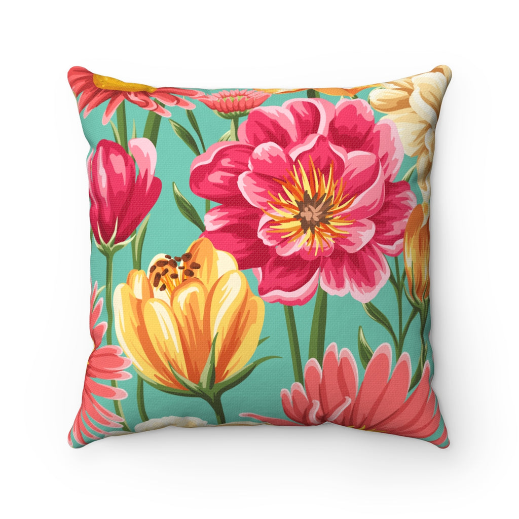 VINTAGE SUMMER FLORAL AND PEONY DECORATIVE THROW PILLOW