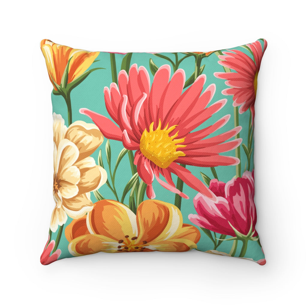 VINTAGE SUMMER FLORAL DECORATIVE THROW PILLOW