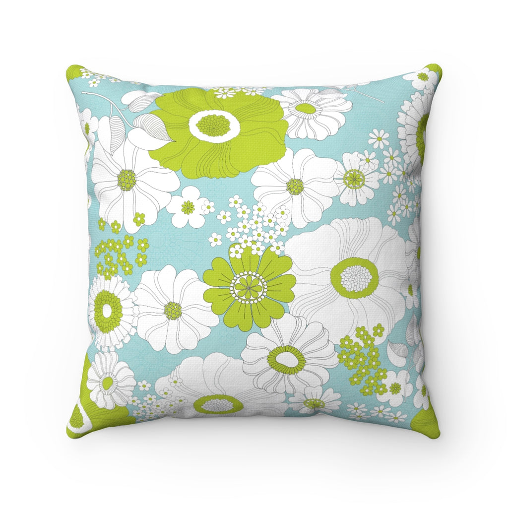GREEN MODERN FLORAL DECORATIVE THROW PILLOW