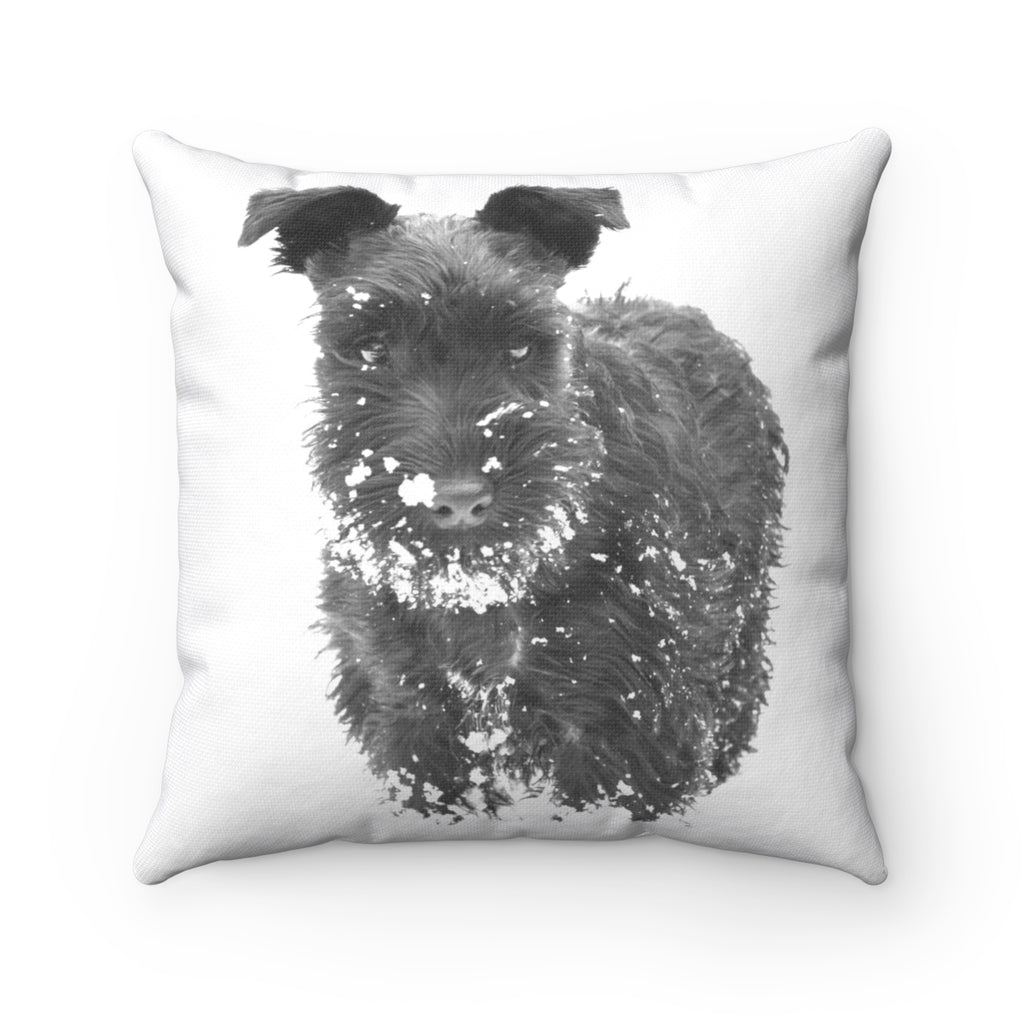 SCHNAUZER IN SNOW PILLOW
