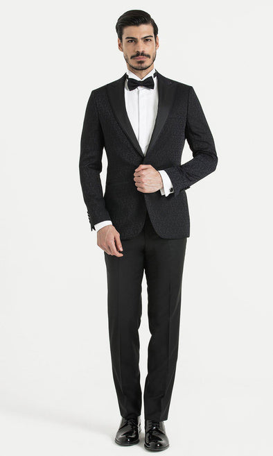 SAYKI Men's Slim Fit Single Breasted Dark Navy Tuxedo-SAYKI MEN'S FASHION