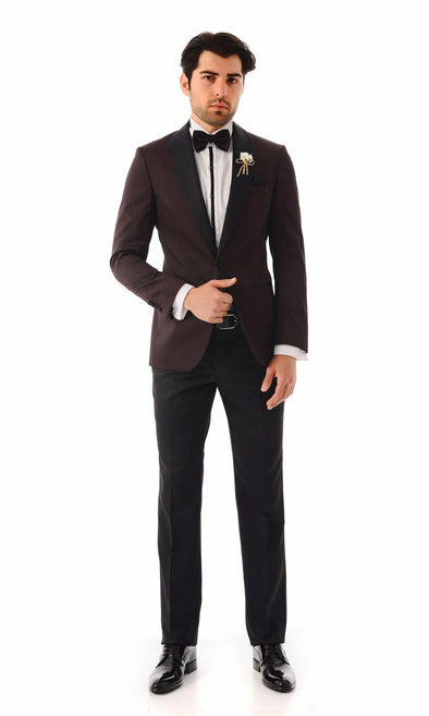 SAYKI Men's Slim Fit Single Breasted Shawl Lapel Burgundy Tuxedo-SAYKI MEN'S FASHION