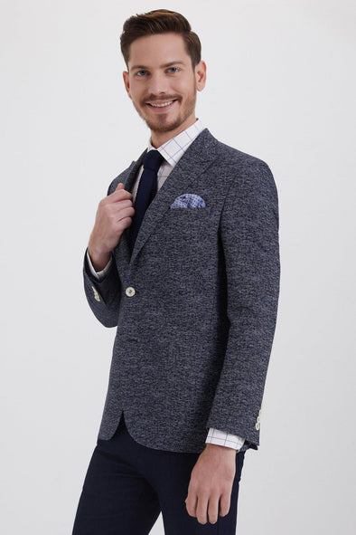 SAYKI Men's Slim Fit Single Breasted Dark Navy Textured Blazer