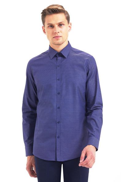 SAYKI Men's Slim Fit Dark Navy Cotton Shirt-SAYKI MEN'S FASHION