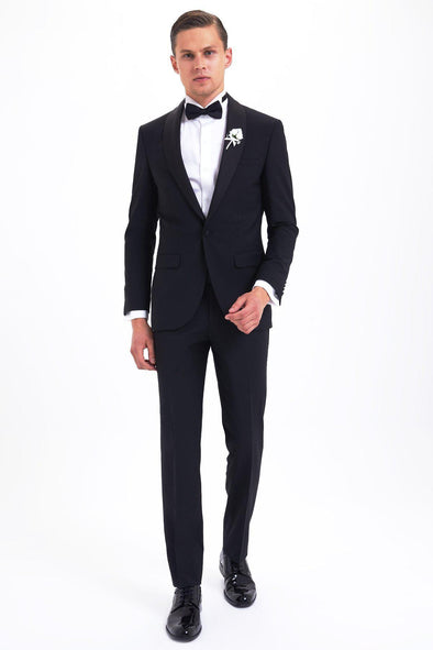 SAYKI Men's Slim Fit Single Breasted Black Tuxedo-SAYKI MEN'S FASHION