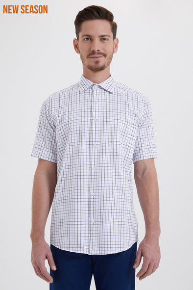 SAYKI Men's Classic Fit Short Sleeve Checkered Cotton Shirt