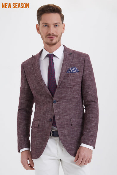 PATTERNED SLIM FIT BLAZER