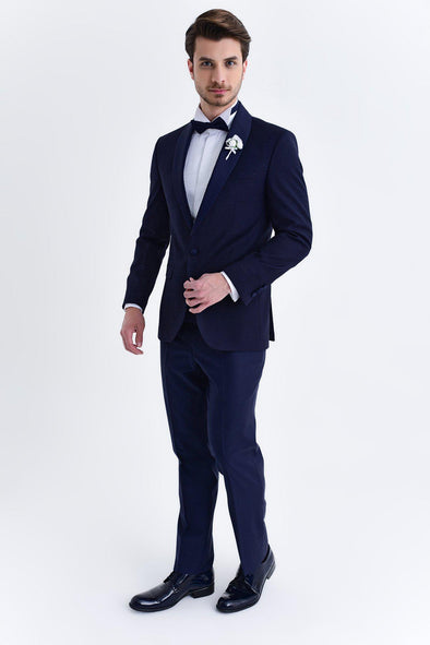 SAYKI Men's Salvador Slim Fit Single Breasted Navy Tuxedo