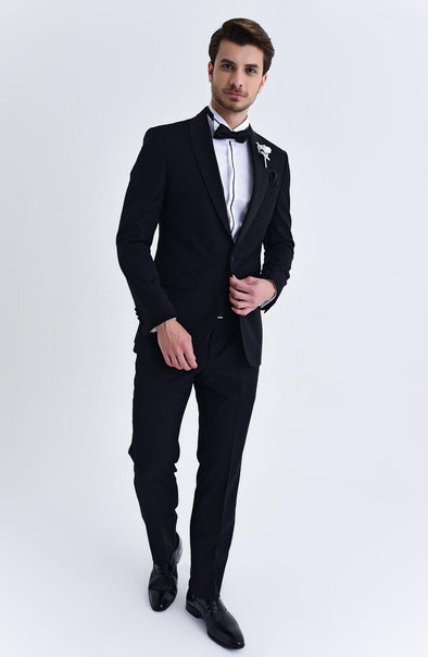 SAYKI Men's Pluto Slim Fit Single Breasted Black Tuxedo
