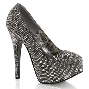 Teeze-06R Gray-Pewter Rhinestone Pumps
