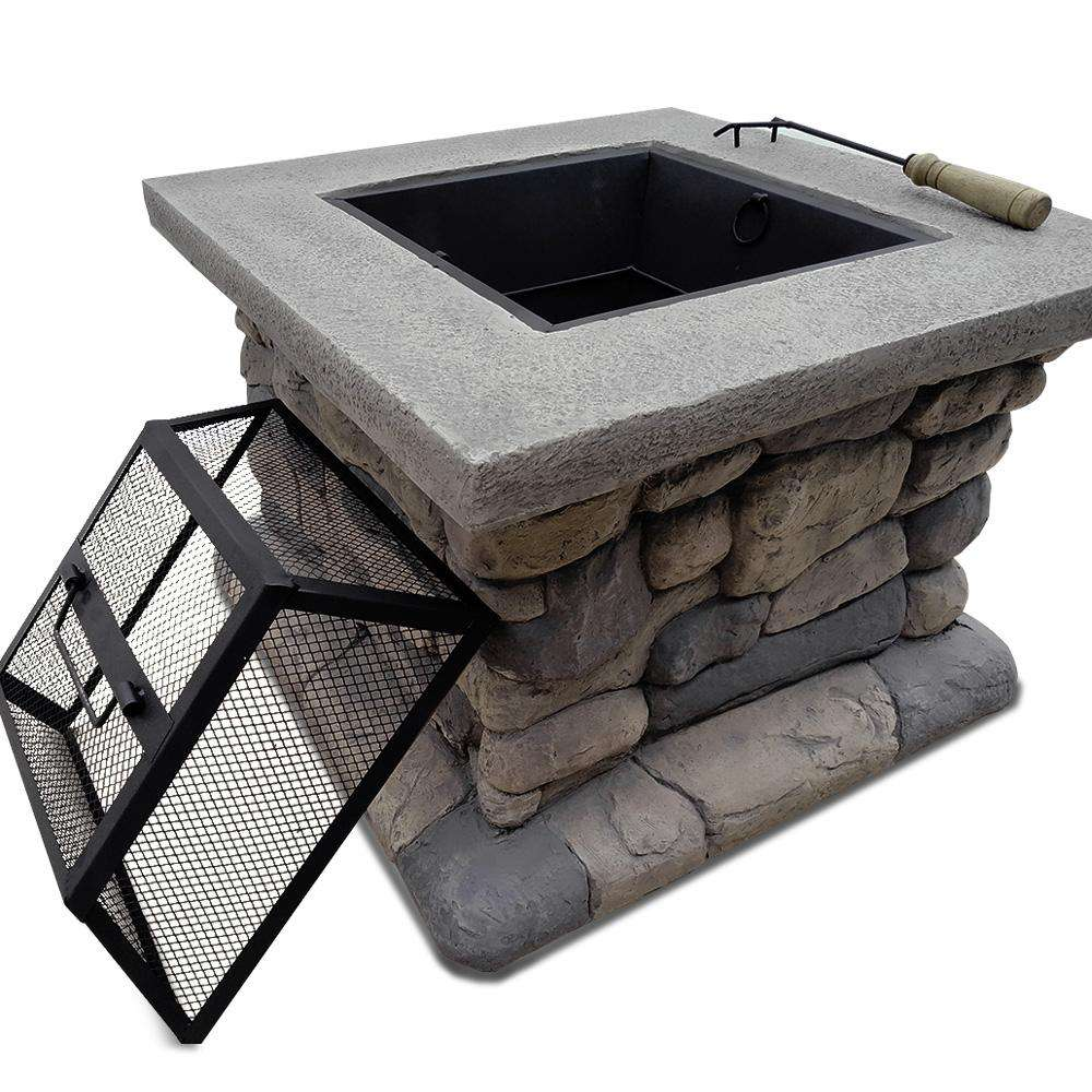 Grillz Fire Pit Table Outdoor BBQ Grill Charcoal Camping Garden Rustic Fireplace