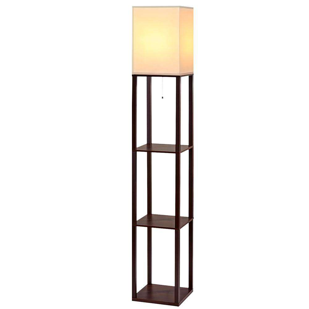 Artiss Shelf Floor Lamp Vintage Wood Reading LIght Storage Organizer Home Office