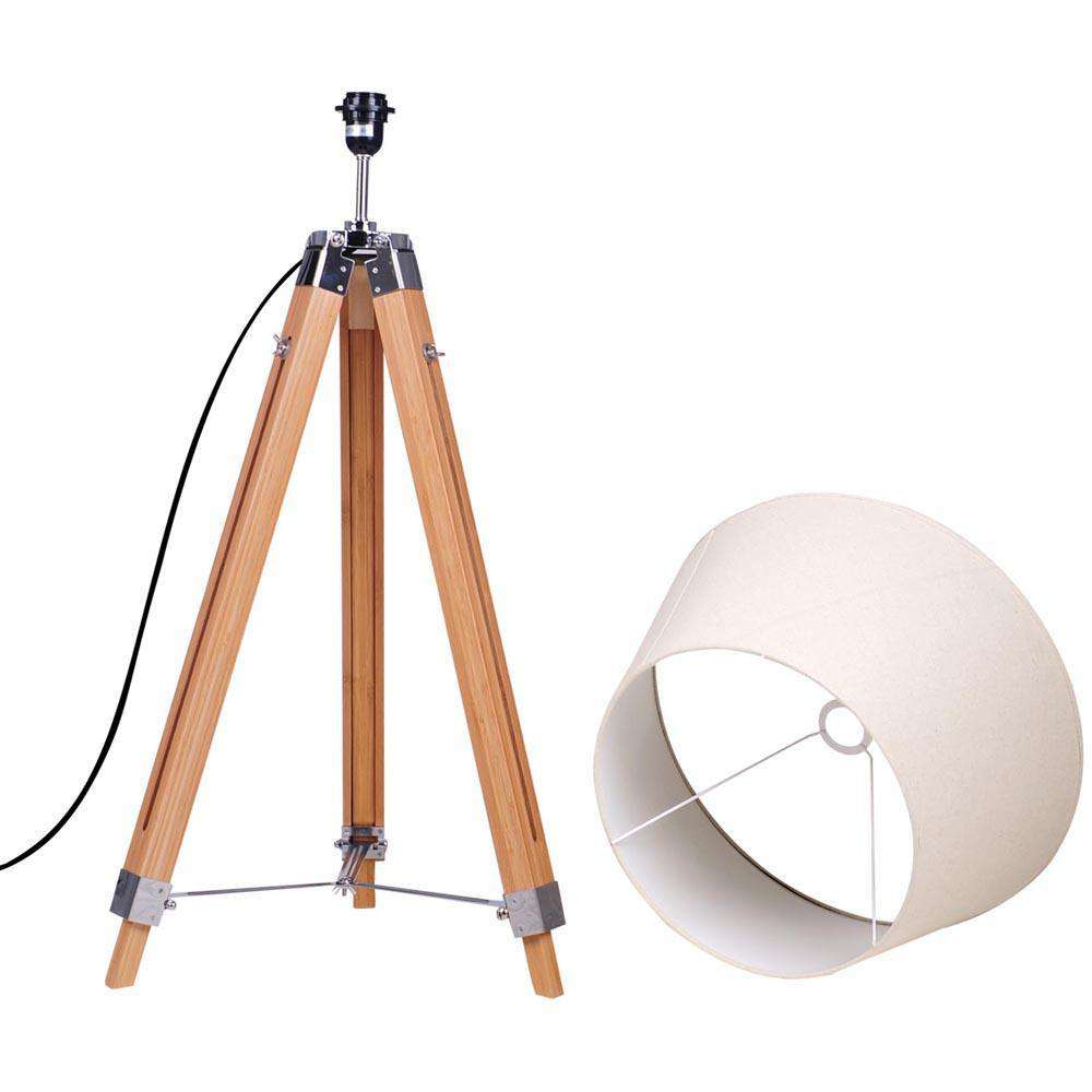 Bamboo Wooden Floor Lamp - Brown & Beige
