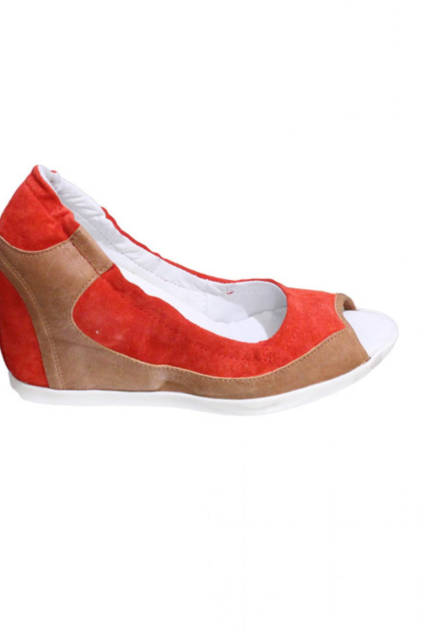 Orange Beige Cognac Manas Peep Toe Wedge Style and Grace