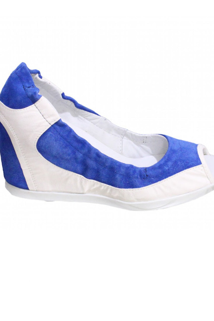 Blue Manas Peep Toe Wedge Style and Grace
