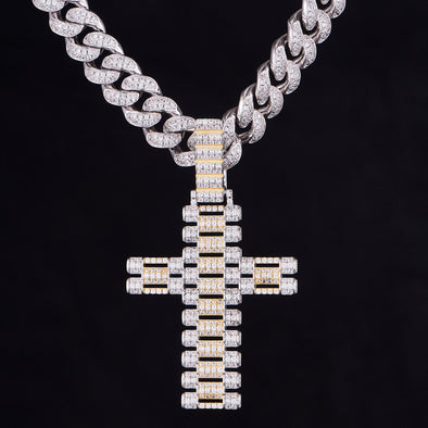 Iced Rolex Link Cross Pendant in Sterling Silver
