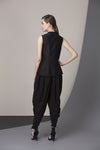 Black Waist Coat With Cut Work In Silk-2330