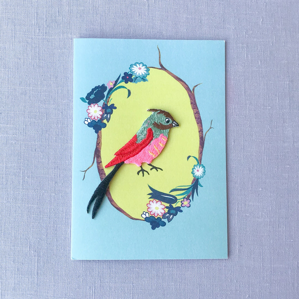 Embroidered Bird Card- Iron on Patch
