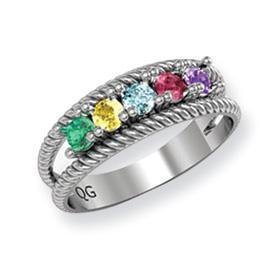 14k Mother's Ring with Birthstones, Engravable