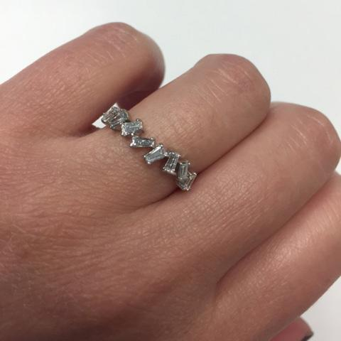 Asymmetrical Baguette Diamond Band Diamond Wedding Rings deBebians