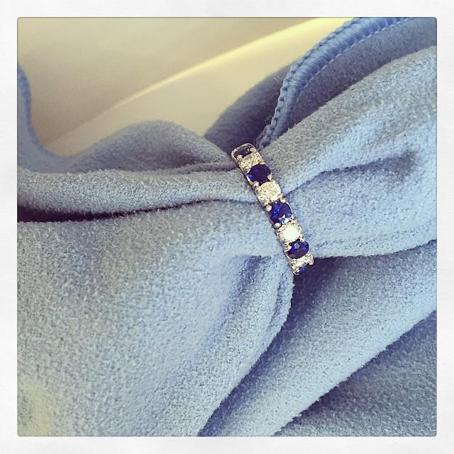 Blue Sapphire and Diamond U-Pave Eternity Ring Gemstone Eternity Rings deBebians