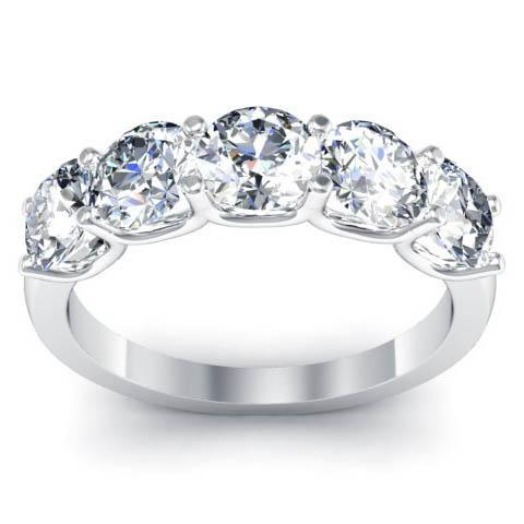 2.00cttw U Prong Round GIA Certified Diamond Five Stone Ring Five Stone Rings deBebians