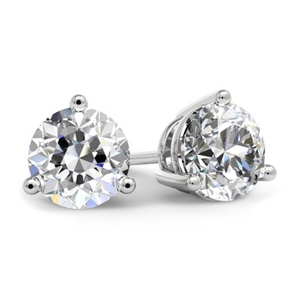 1.50cttw GIA Certified Diamond Stud Earrings Diamond Stud Earrings deBebians 14k White Gold 3 Prong