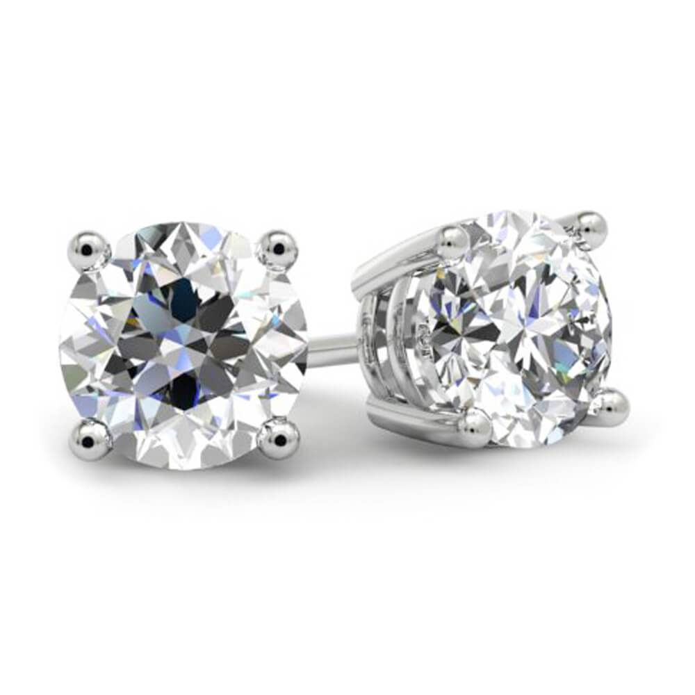 0.60cttw GIA Certified Diamond Stud Earrings Diamond Stud Earrings deBebians 14k White Gold 4 Prong