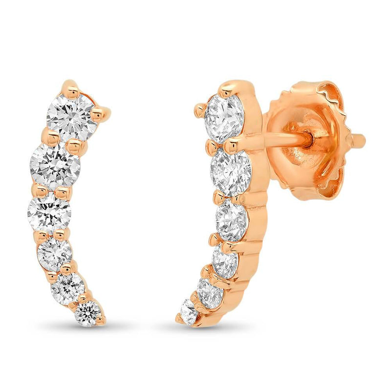 14k Gold Crawler Diamond Earrings Earrings deBebians