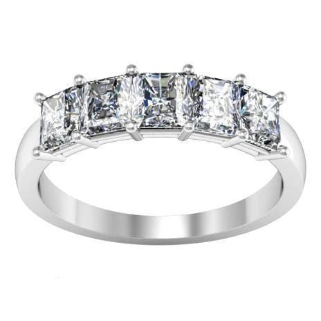 1.50cttw Shared Prong Princess Cut Diamond Five Stone Ring