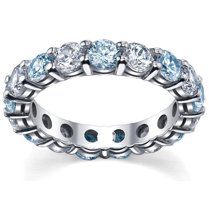 Diamond and Aquamarine Wedding Ring Gemstone Eternity Rings deBebians