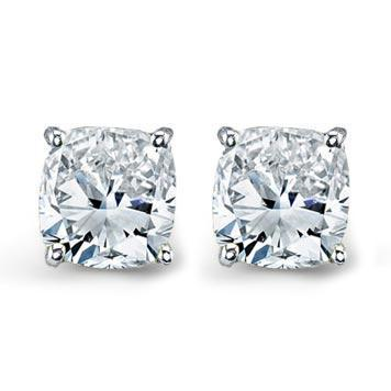 Forever One Moissanite Cushion Cut Earrings Moissanite Earrings deBebians