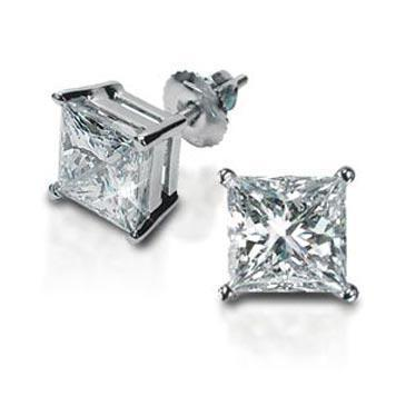 Forever One Moissanite Princess Cut Earrings Moissanite Earrings deBebians
