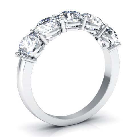 2.00cttw Shared Prong Round Brilliant GIA Certified Diamond Five Stone Ring Five Stone Rings deBebians