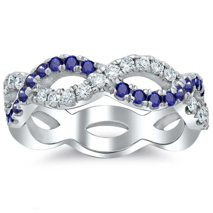 Infinity Sapphire and Diamond Wedding Ring Half Eternity Rings Debebians
