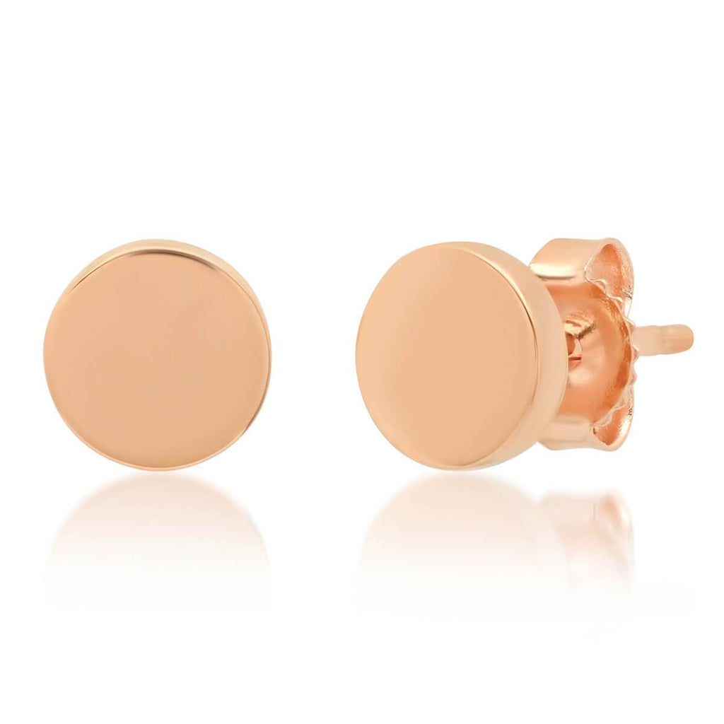 14k Gold Large Circle Stud Earrings Gold Earrings deBebians