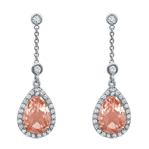 Morganite Pear Drop Earrings Diamond Halo Earrings deBebians