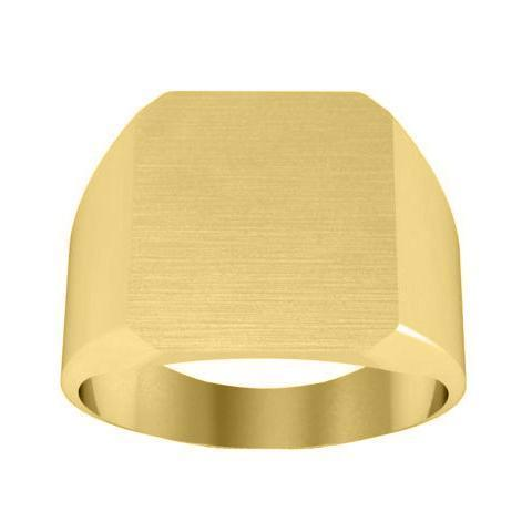 Men's Cross Signet Ring with Solid Back