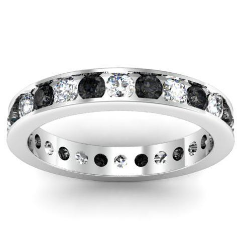Round Black and White Diamond Eternity Ring in Channel Setting Gemstone Eternity Rings deBebians
