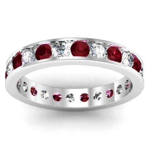 Round Diamond and Garnet Eternity Band in Channel Setting Gemstone Eternity Rings deBebians