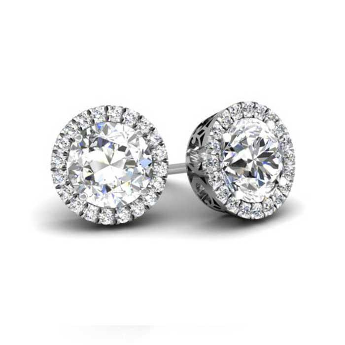 Round Forever One Moissanite Round Halo Earrings Moissanite Earrings deBebians