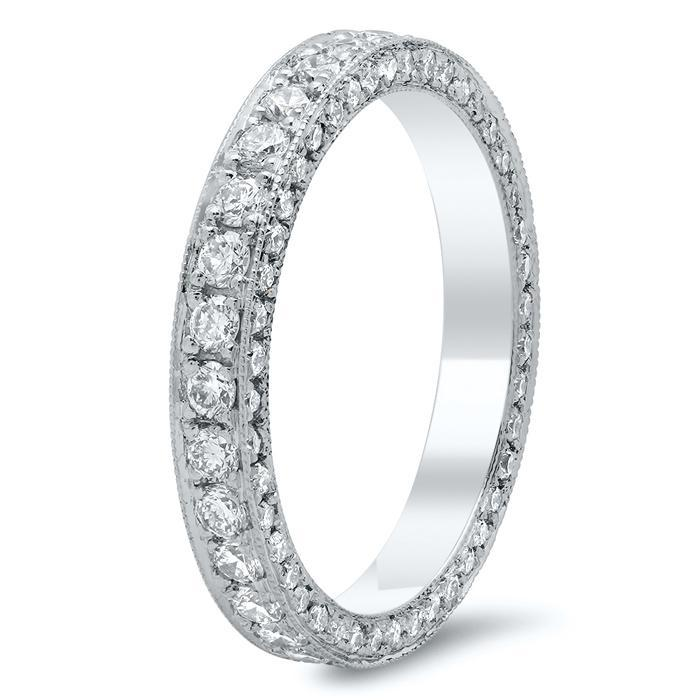 Round Brilliant Cut Pave Set Diamond Eternity Band - 1.00 carat Diamond Eternity Rings deBebians