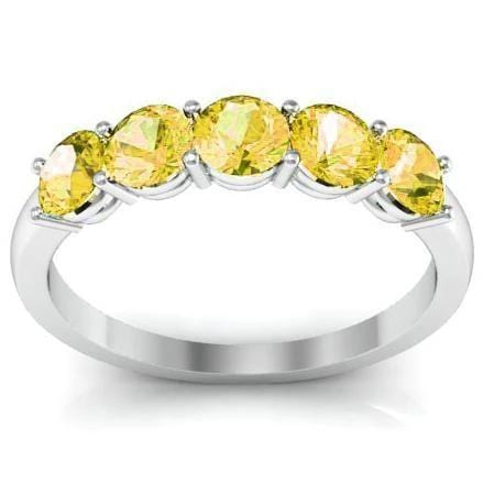 1.00cttw Shared Prong Yellow Sapphire Five Stone Ring Five Stone Rings deBebians