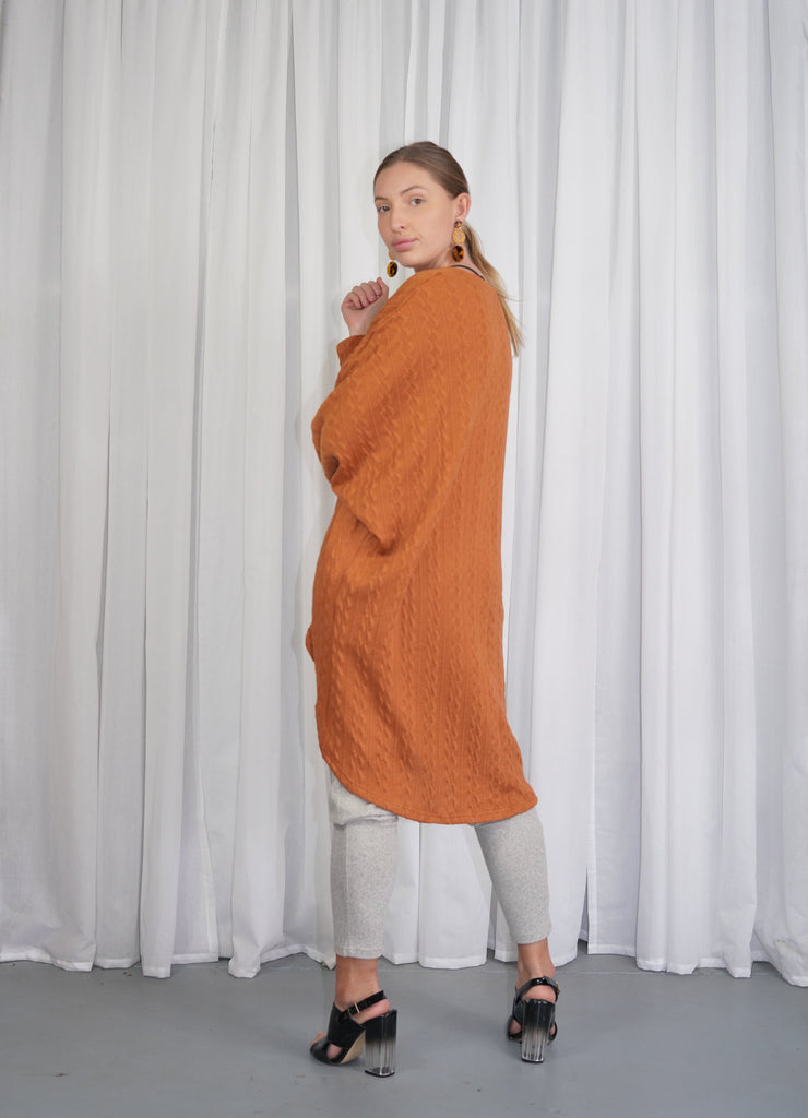 Cable Knit Jumper - Rust