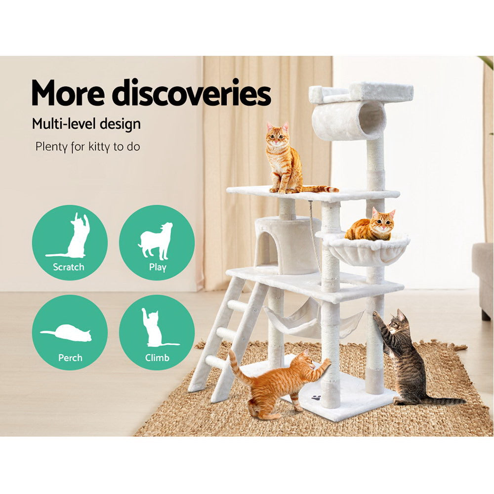 ipet 141cm scratch condo beige side