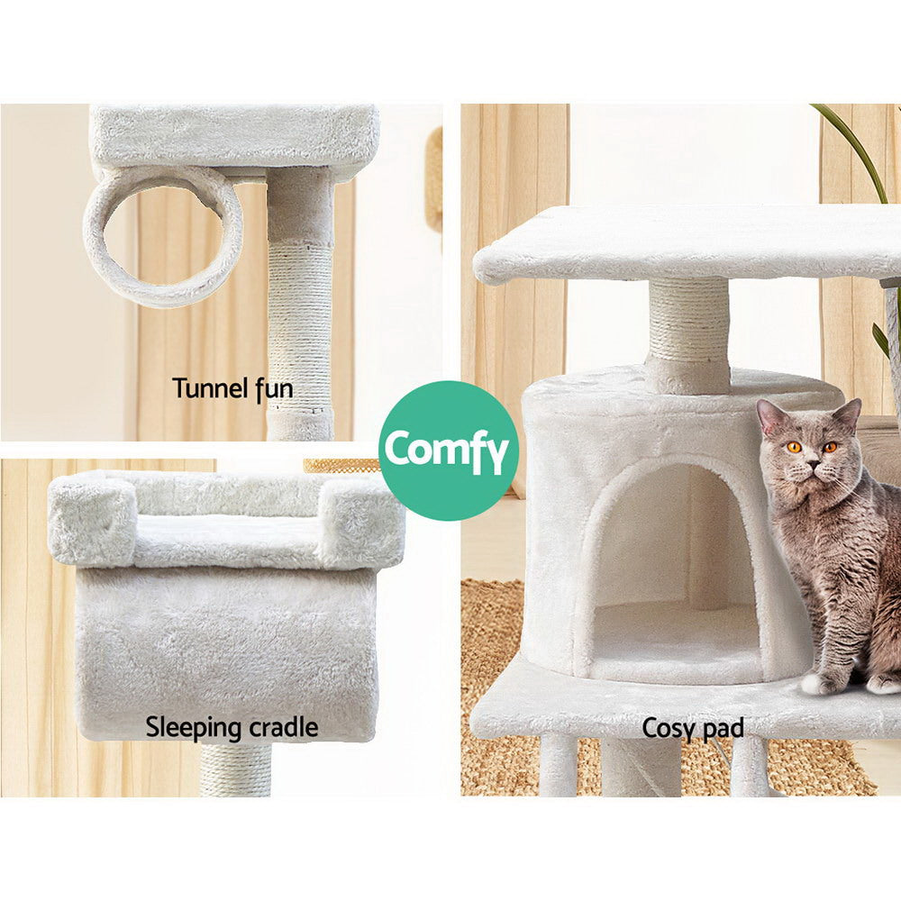 ipet 141cm scratch condo beige top closeup