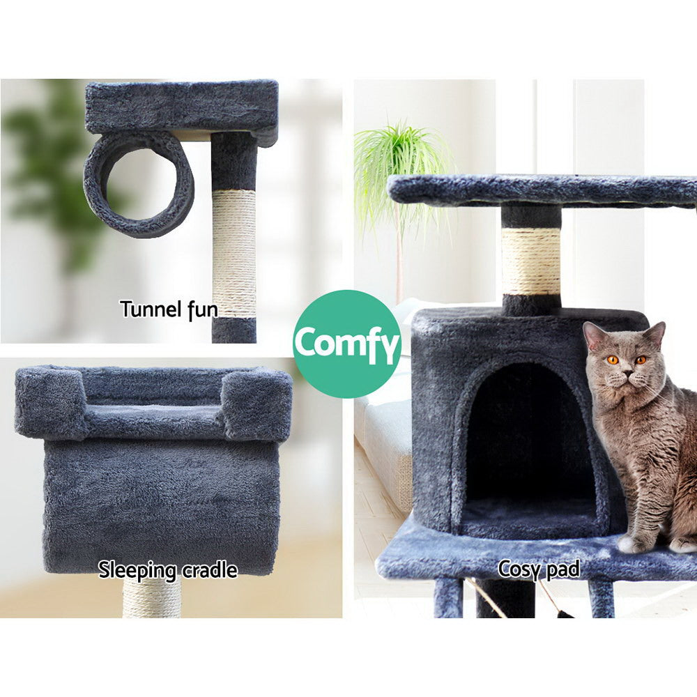 ipet 141cm scratch condo grey top closeup