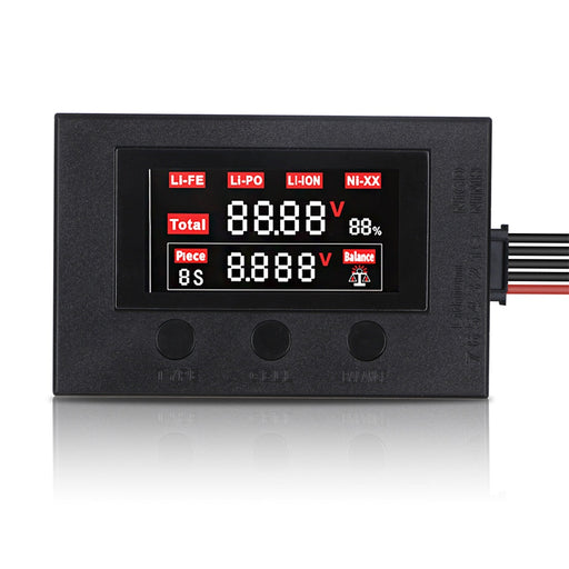 Battery Power Voltage Tester LED Battery Capacity Checker for 2-7S RC Lipo Battery, 4-7S NiCd, NiMH Black